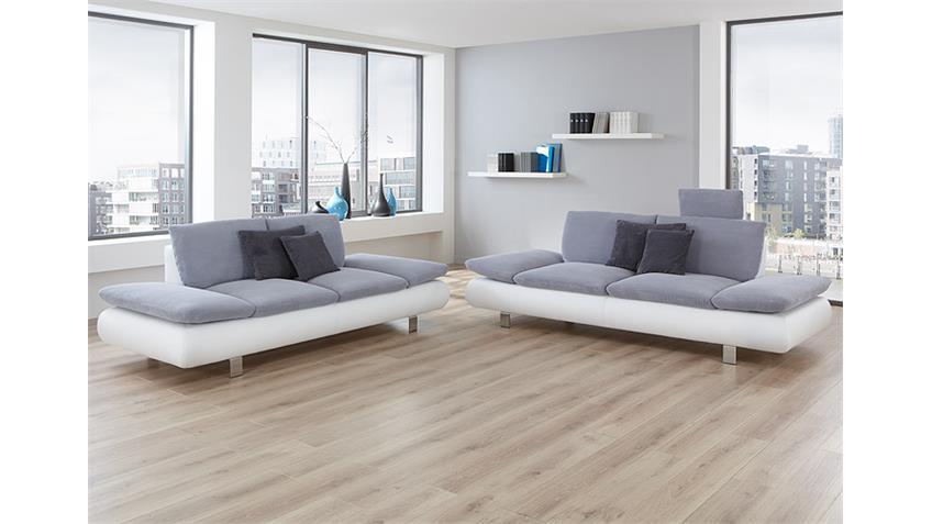 Sofagarnitur MORADO Polstermöbel in weiß grau und Chrom