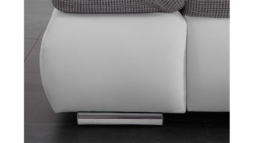 Ecksofa VIGO Sofa Wohnlandschaft in weiß grau und Chrom