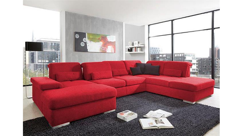 Wohnlandschaft SAN MARINO Ecksofa Sofa in rot mit Funktion