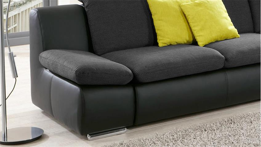 ecksofa isona sofa wohnlandschaft in schwarz mit funktion. Black Bedroom Furniture Sets. Home Design Ideas