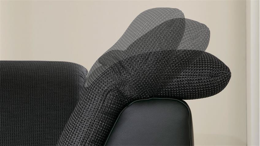 Ecksofa ISONA schwarz dunkelgrau Kopfteilverstellung Armteilfunktion