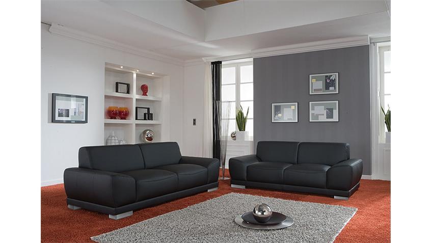 Sofagarnitur MANILA Wohnzimmersofa 2er 3er Sofa in schwarz