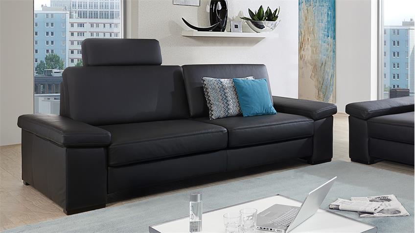 Sofa 3er Puzzle 3-Sitzer Polstermöbel echt Leder schwarz 228