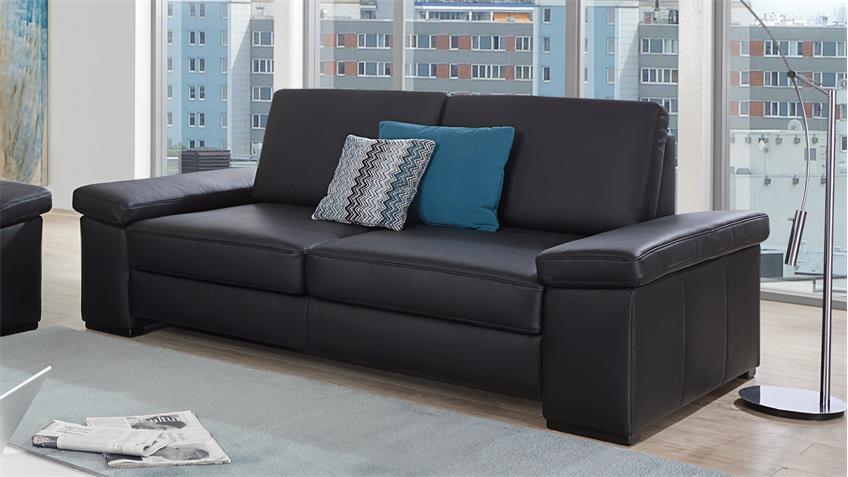 Sofa PUZZLE 2-Sitzer in Echtleder schwarz mit Federkern Breite 208 cm