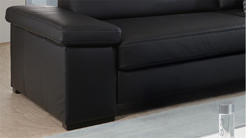 Sofagarnitur Puzzle Sofa Polstermöbel echt Leder schwarz