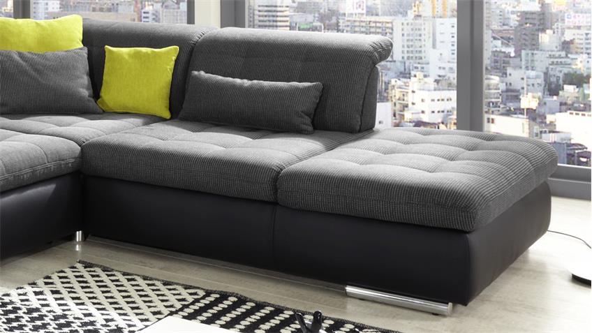 wohnlandschaft santa fe in schwarz anthrazit mit sitztiefenverstellung. Black Bedroom Furniture Sets. Home Design Ideas
