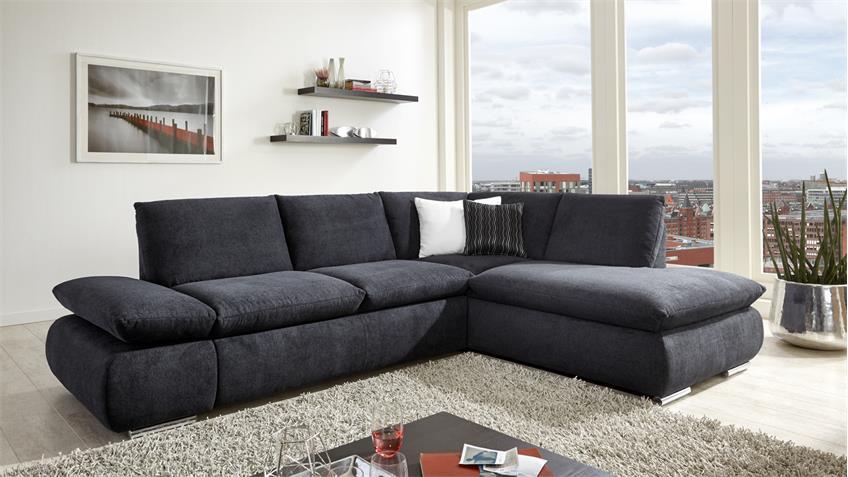 ecksofa bj rn stoff anthrazit mit nosagfederung f e chrom 256x192 cm. Black Bedroom Furniture Sets. Home Design Ideas