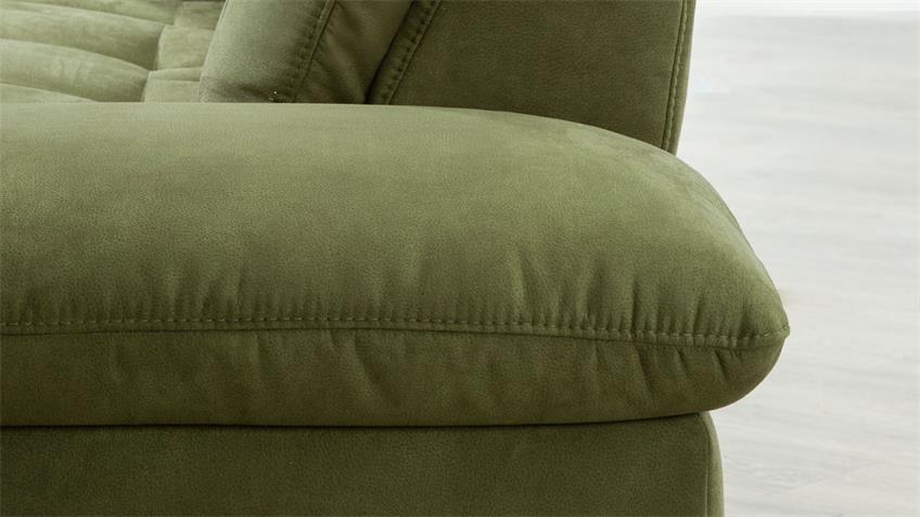 Ecksofa MARTINIQUE L-Sofa Stoff grün Sitztiefenverstellung