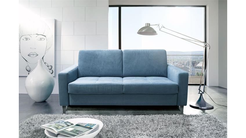 Schlafsofa ALL FLEX Sofa Stoff hellblau mit Matratze 190 cm