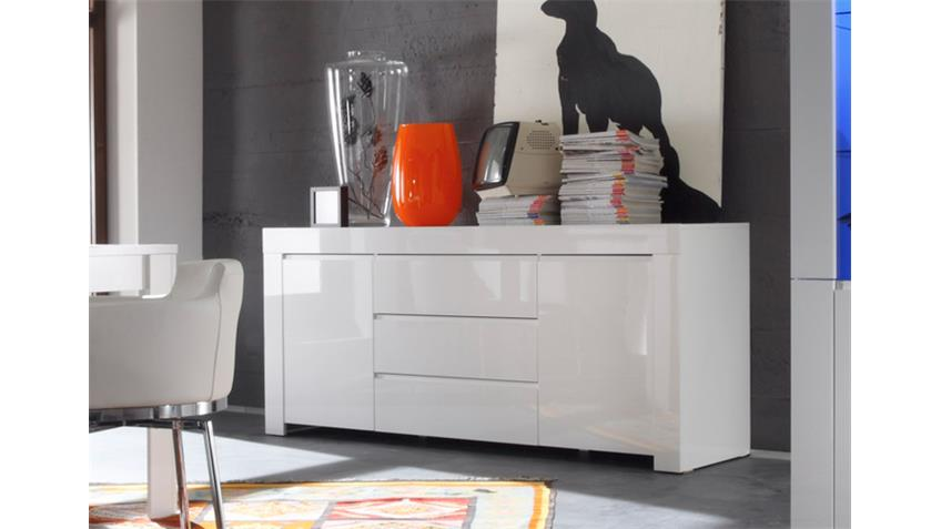 Sideboard AMALFI weiß echt hochglanz lackiert 190cm