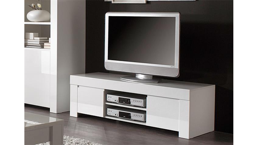 TV Board AMALFI weiß echt hochglanz lackiert 140cm breit
