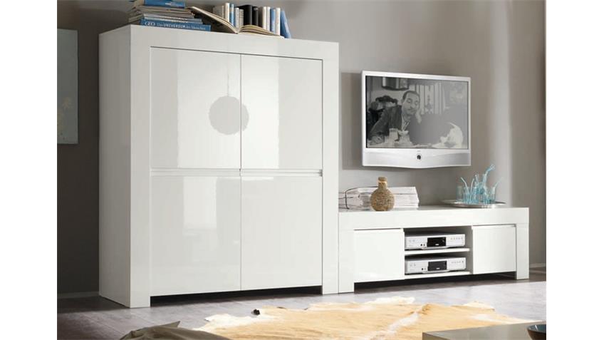 Highboard Amalfi in weiß echt hochglanz lackiert 4-türig