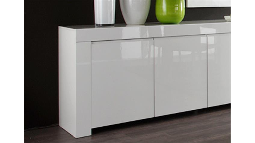 Sideboard Amalfi in weiß echt hochglanz lackiert 210 cm breit