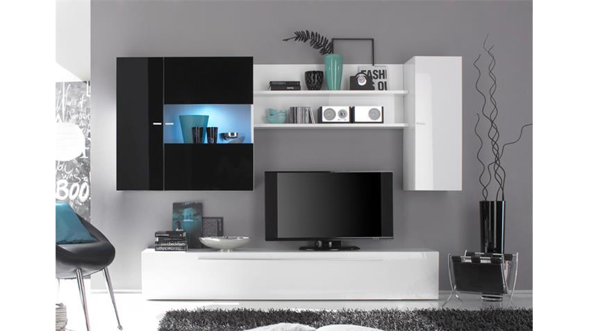 Wohnwand PRIMO D weiß schwarz echt hochglanz lackiert