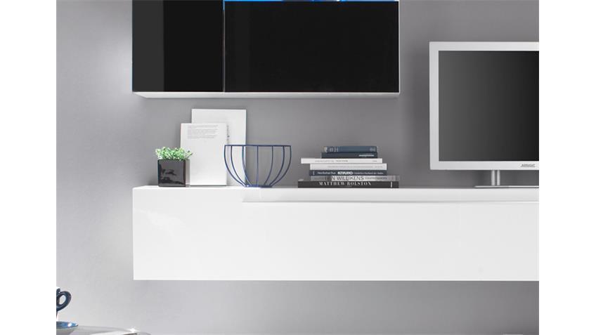 Wohnwand PRIMO H weiß schwarz echt hochglanz lackiert