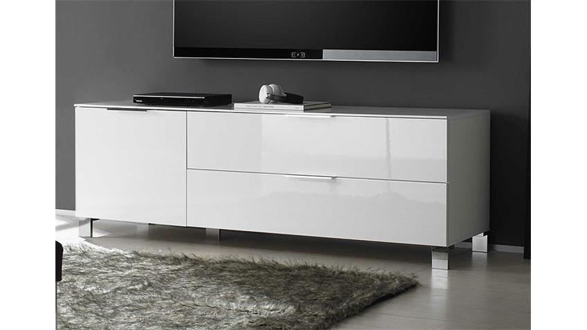 Lowboard 1 SOLA TV Board in Weiß echt Hochglanz lackiert