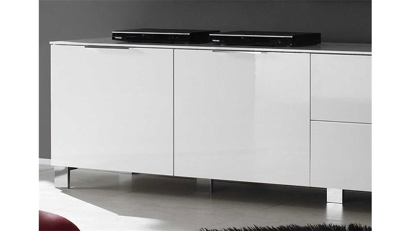 Lowboard 2 SOLA in Weiß echt Hochglanz lackiert 180 cm