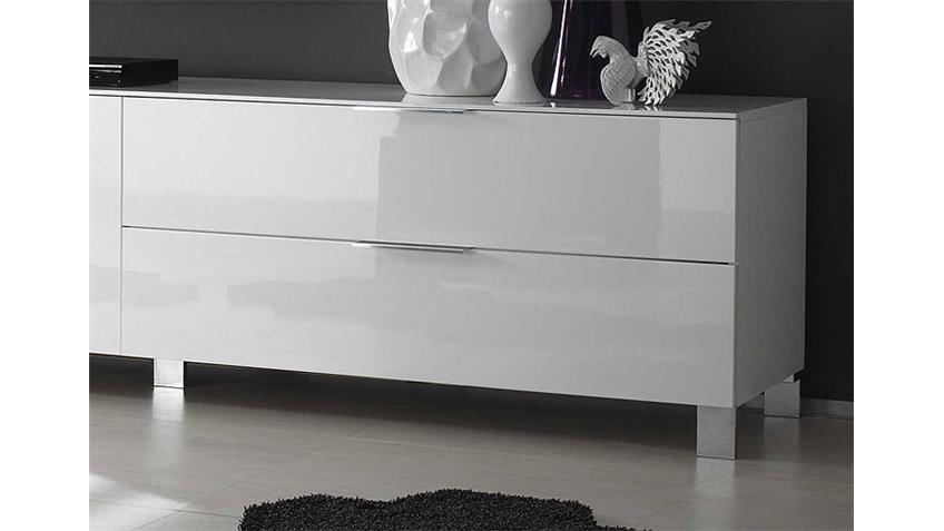Lowboard 3 SOLA Weiß echt Hochglanz lackiert 210 cm