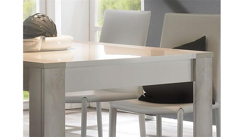 MARS Esstisch 180x90 Weiß Hochglanz lackiert / Pinie Weiß