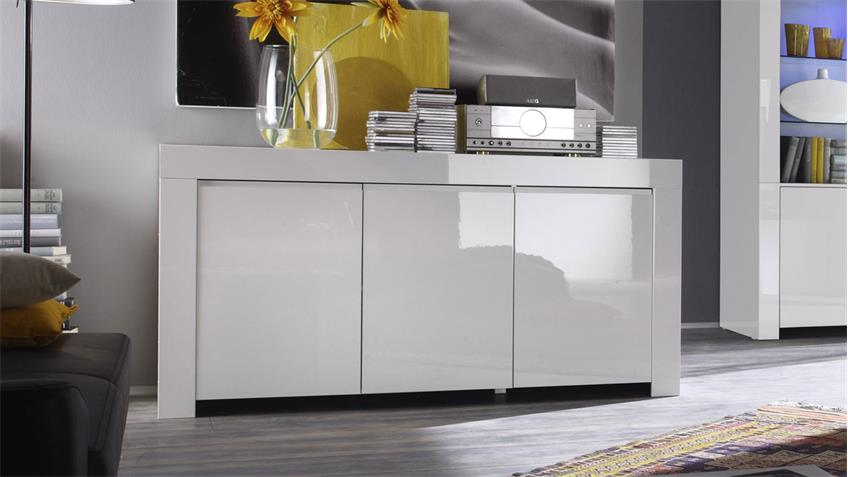 sideboard amalfi schrank in wei hochglanz lackiert 160 cm. Black Bedroom Furniture Sets. Home Design Ideas