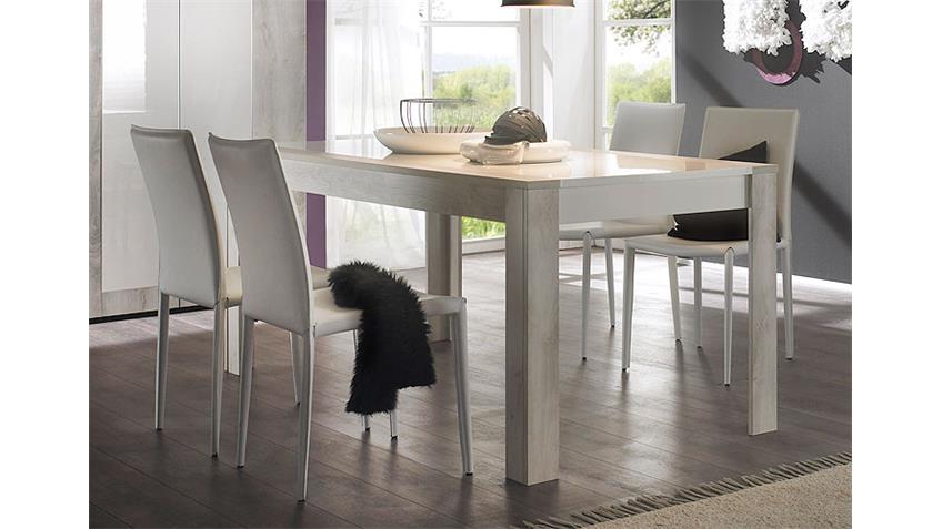 Tischgruppe MARS 180x90 weiß Hochglanz lackiert Pinie weiß