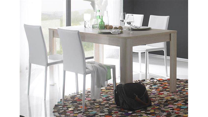 Tischgruppe RUSTICA Tisch in Sonoma Eiche und weiß 160 cm