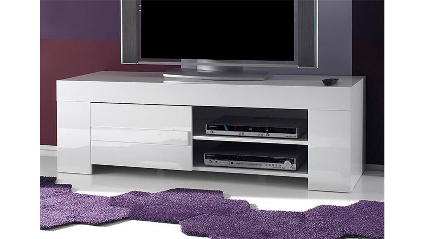 tv lowboard eos in wei echt hochglanz lackiert 140 cm. Black Bedroom Furniture Sets. Home Design Ideas