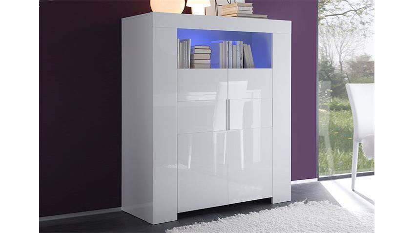 Highboard EOS in Weiß echt Hochglanz lackiert 119 cm breit
