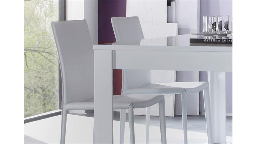 Tischgruppe EOS weiß Stühle Lederlook Tisch hochglanz lackiert 160x90