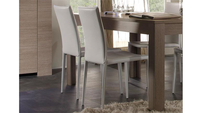 EOS Tischgruppe Tisch 180x90 Eiche Grau Dekor Lederlook weiß