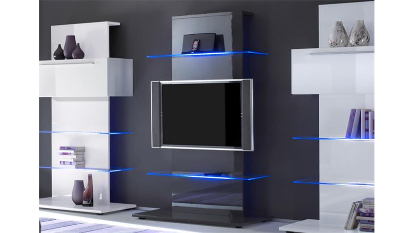 TV-Wohnwand Kombi weiß anthrazit echt hochglanz lackiert