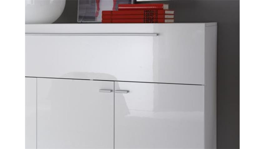 Sideboard PRIMO weiß echt hochglanz lackiert 4 Türen