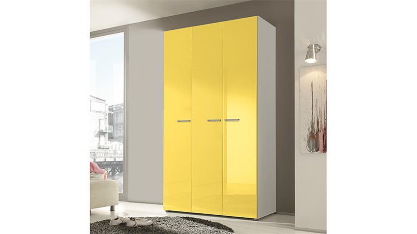 Kleiderschrank SMART Gelb Hochglanz Weiß 120 cm