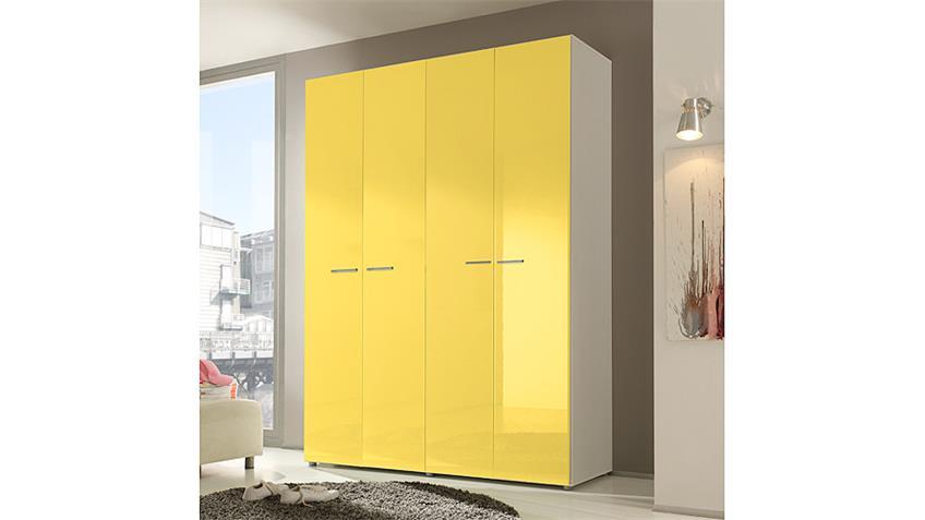 Kleiderschrank SMART Gelb Hochglanz Weiß 159 cm