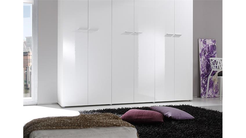 Kleiderschrank SMART Weiß Hochglanz 237 cm