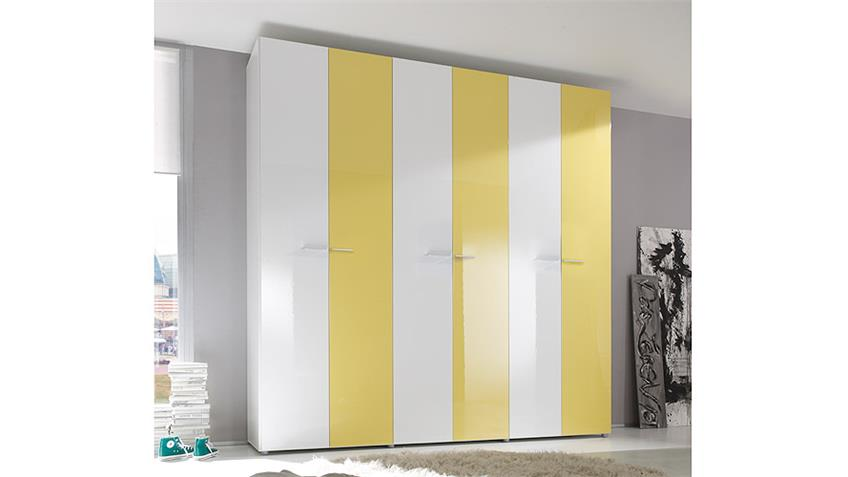 Kleiderschrank SMART Weiß und Gelb Hochglanz 237 cm