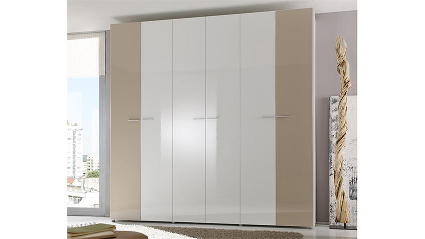 Kleiderschrank SMART Weiß und Sand Hochglanz 237 cm