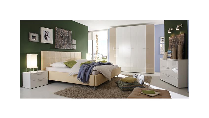 Schlafzimmer SMART Schlafzimmerset in weiß Sand hochglanz