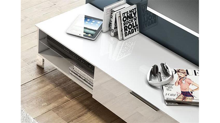 TV-Board 1 SOLA Weiß echt Hochglanz lackiert