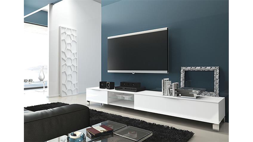 TV-Board 3 SOLA Weiß echt Hochglanz lackiert