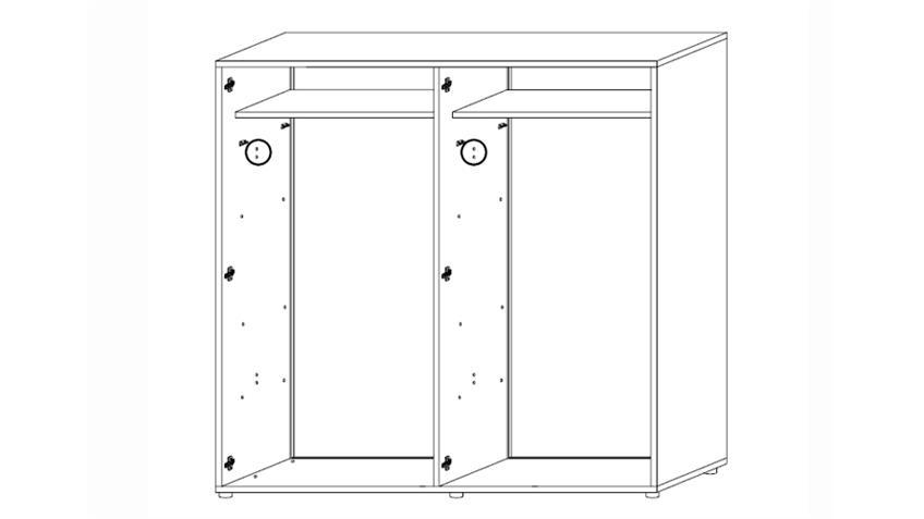 Kleiderschrank AMBROSIA 4-türig Hochglanz Weiß lackiert