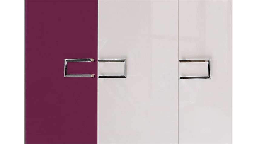 Kleiderschrank AMATA 5-türig Hochglanz weiß lila lackiert