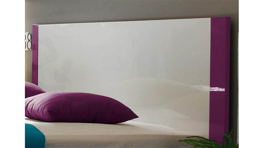 Bett AMATA Weiß und Lila Hochglanz lackiert 180x200 cm
