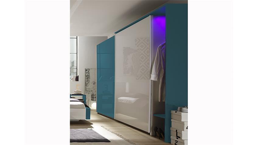 Schlafzimmer-Set AMATA Weiß und Türkis Hochglanz lackiert