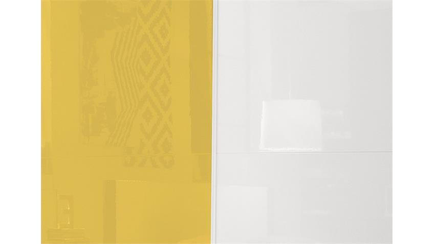 Schwebetürenschrank AMATA Weiß und Gelb Hochglanz lackiert