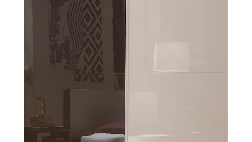 Schwebetürenschrank AMATA Weiß Anthrazit Hochglanz inkl. LED