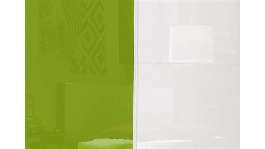 Schwebetürenschrank AMATA weiß und Kiwi grün Hochglanz