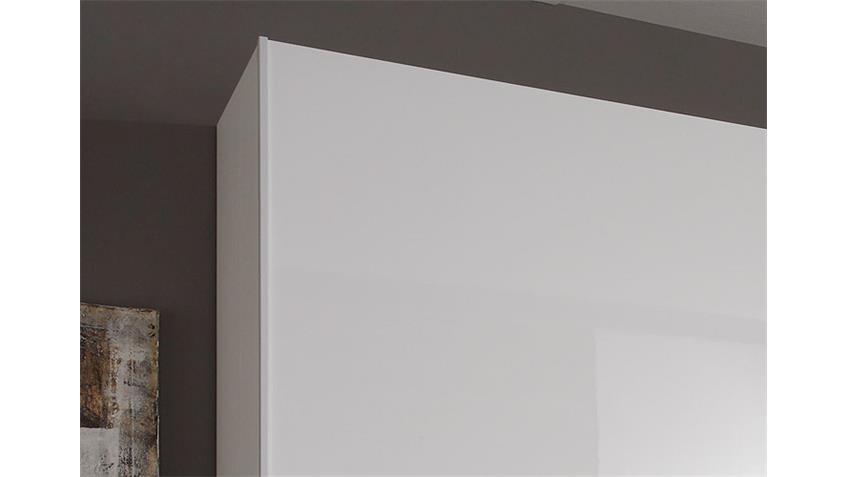 Schwebetürenschrank TAMBURA Weiß Lack und Eiche Wenge