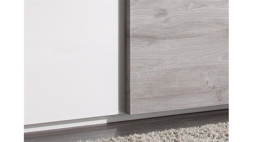 Schwebetürenschrank TAMBURA Weiß Lack und Eiche Grau