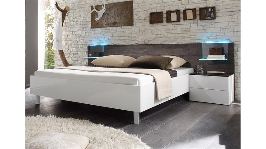 Bettanlage TAMBURA Weiß Lack und Eiche Wenge 180x200 cm